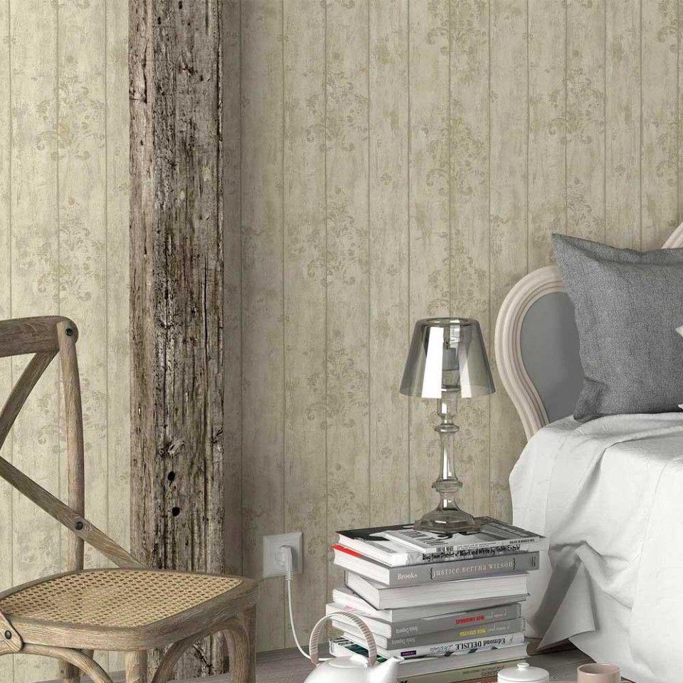 Papel pintado madera con detalle vintage PDW9691202   Papel pintado ...