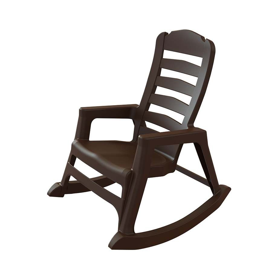 Adams Mfg Corp Earth Brown Resin Stackable Patio Rocking Chair