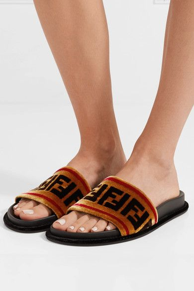 b1daba256 FENDI Stylish Printed velvet slides in 2019 | Fendi - Luxury ...