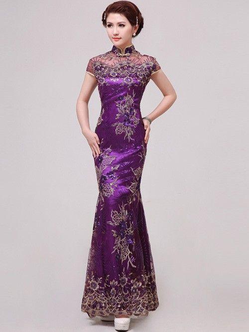 Purple Fishtail Cheongsam   Qipao   Chinese Wedding   Evening Dress ... 7539226386d3