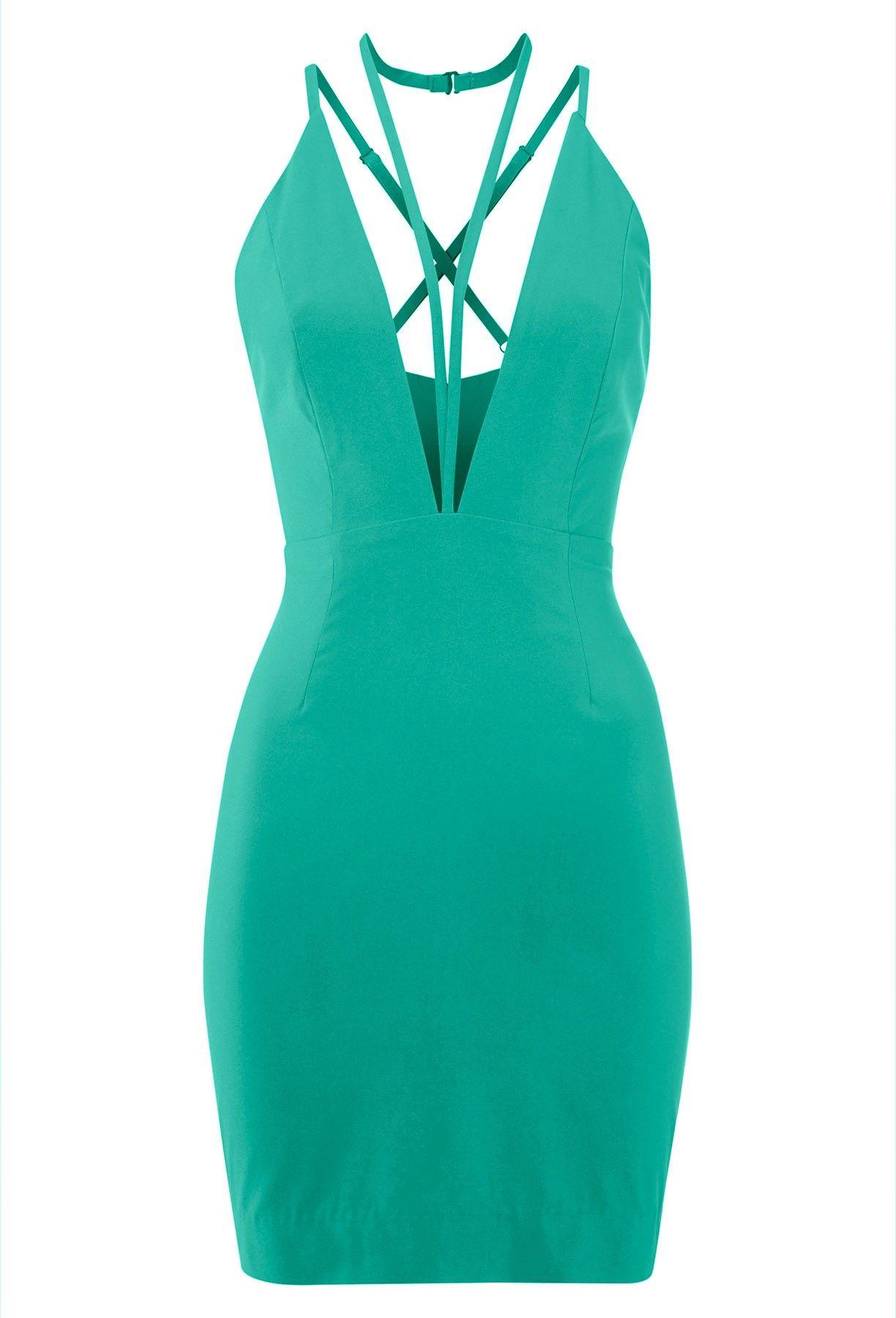 Jess green strappy deep v mini dress aqaq styled by rawness