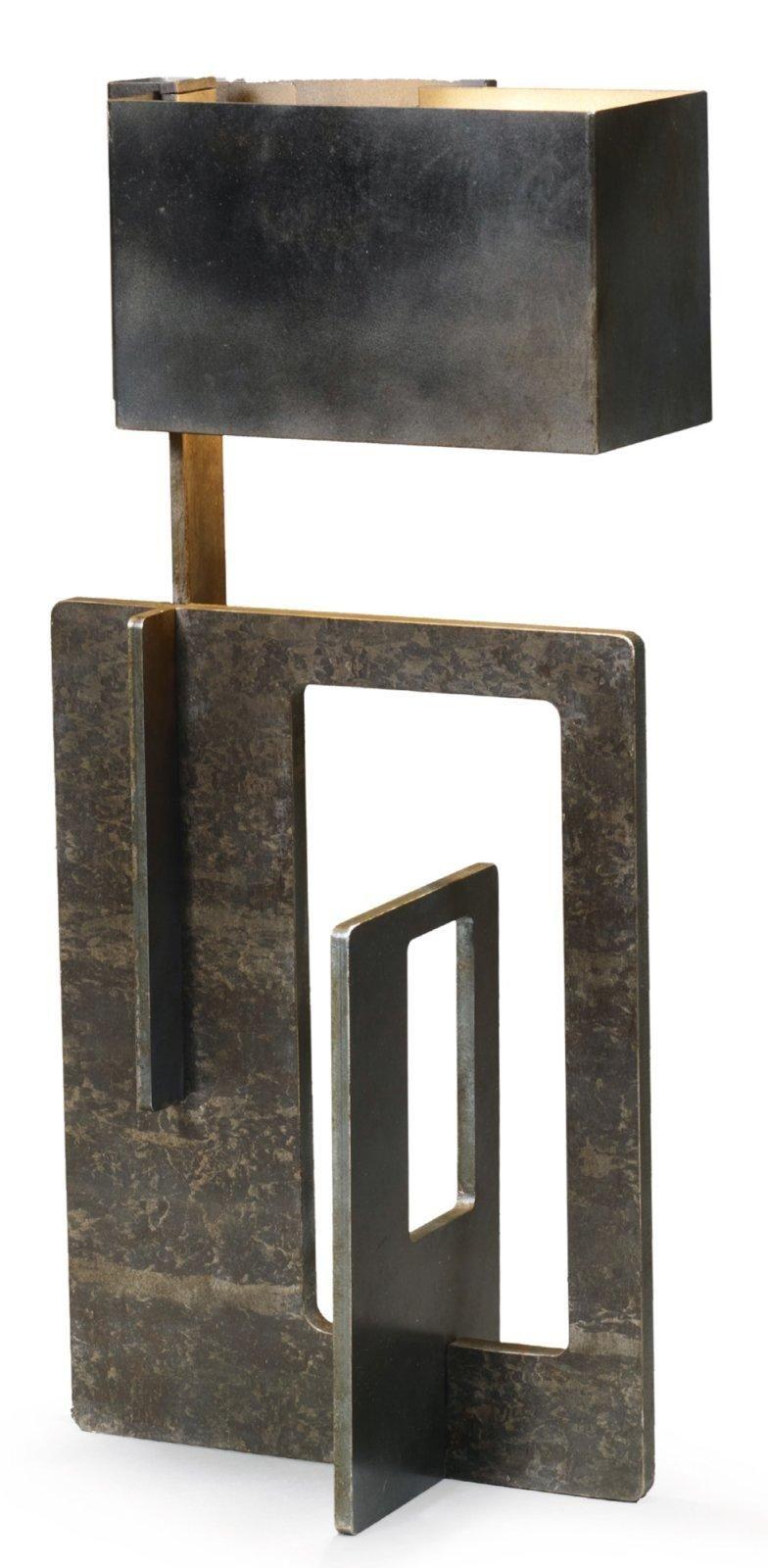 ANGELO BROTTO 1914 2002 Lampe sculpture Fonte d acier patiné