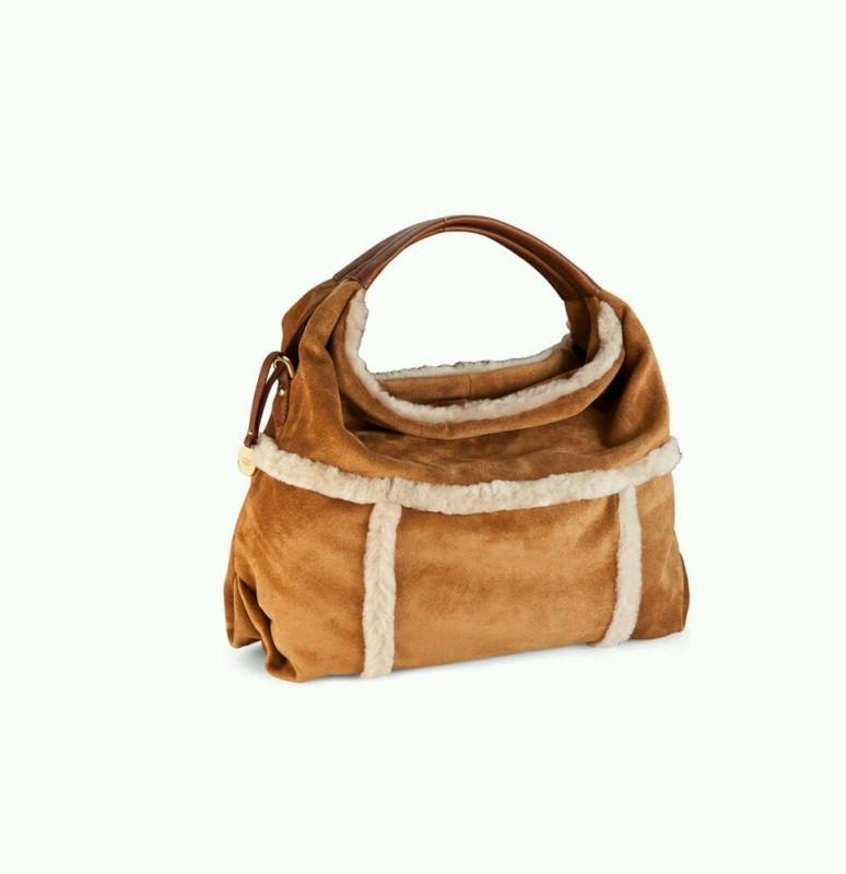 27c64b23b26 NEW UGG Australia Quinn Hobo Suede Shearling Chestnut LEATHER Purse ...