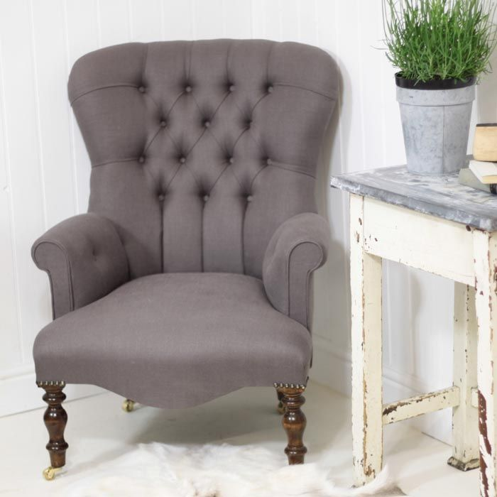 Stone Grey Vintage Style Armchair
