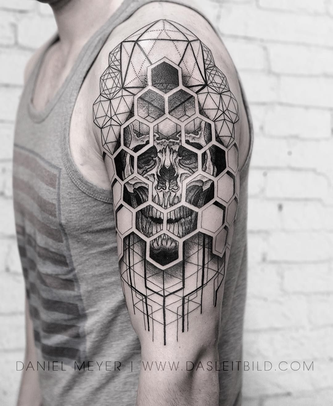 Hexagon Skull In Progress Los Angeles Booking Requests Www Dasleitbild Com Contact Or Contactleitbild Gmail Com In 2020 Hexagon Tattoo Black White Tattoos Tattoos