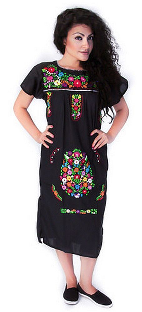 Details about ANY COLOR Mexican FIESTA Dress Embroidered FLORAL ...