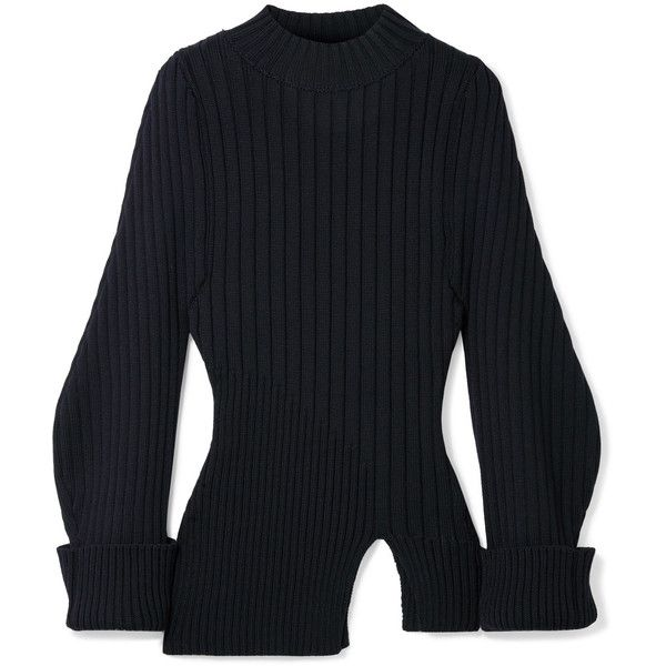 5fabcec6abb Jacquemus Pablo ribbed wool sweater (5 680 ZAR) ❤ liked on Polyvore  featuring tops