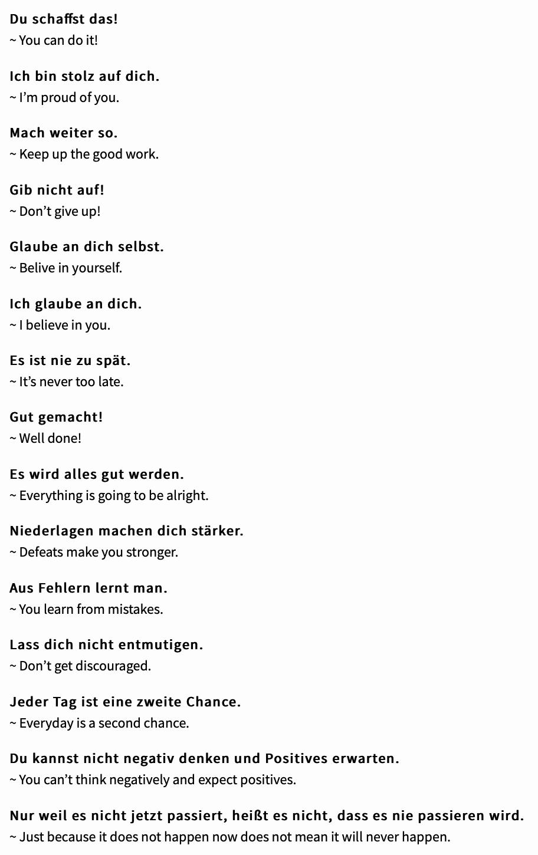 German Vocab Encouraging Phrases By Stacojiu