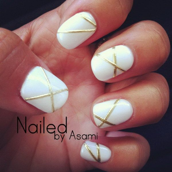 White And Gold Lines Design With Gel Nails