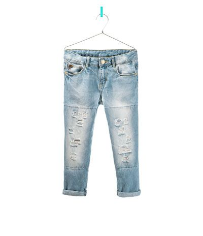 RIPPED JEANS WITH SMALL POCKET PATCH - Jeans - Girl - Kids - ZARA United States