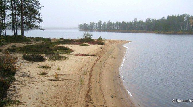 Karhisalmen hietikkoa, taustalla harjun katkaiseva Selkäsalmi.