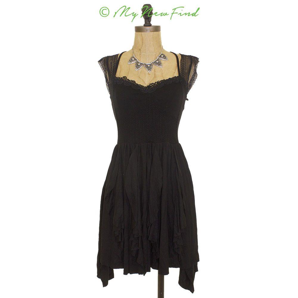 Nwot free people miss mini dress asymmetrical short black cap sleeve
