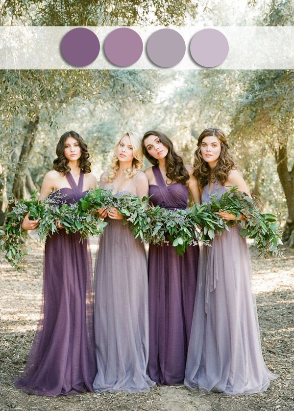 Shades Of Misted Purple Lavender Fall Wedding Color Ideas For October Dusty Bridesmaid Dresses
