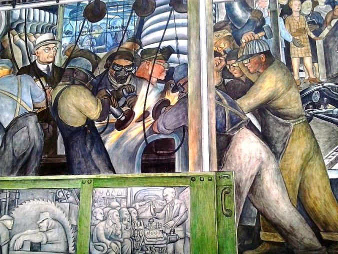 South wall details detroit industry murals diego rivera for Detroit rivera mural