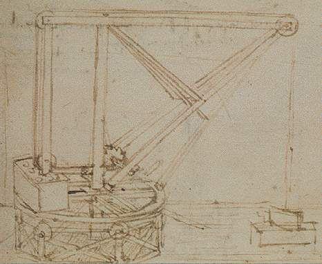 Leonardo da Vinci - Manuscript B, folio 49 r - Revolving Crane, study