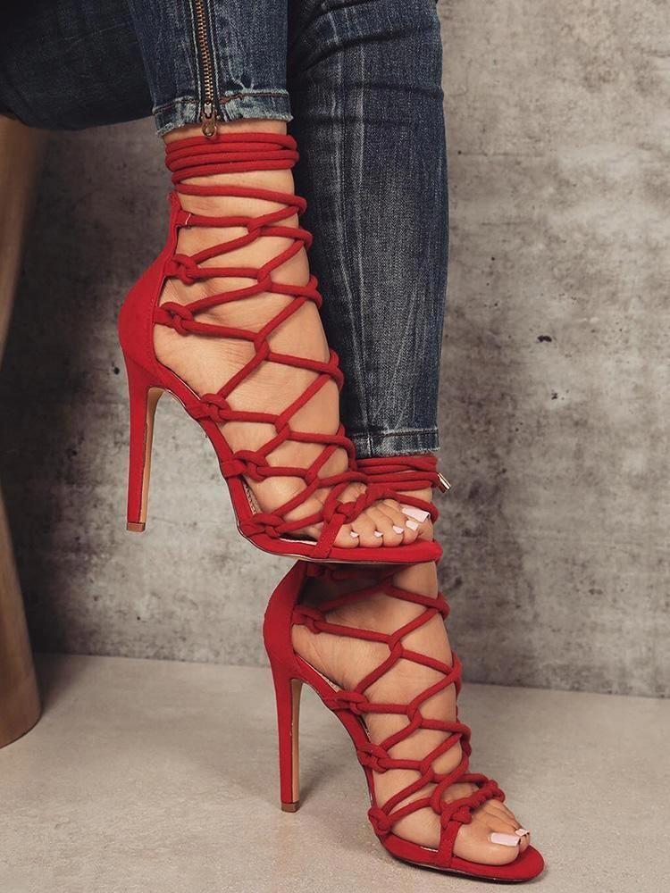 Up Heels Hollow Thin Redstilettoheels Lace Out Sandals XuOkPiZT