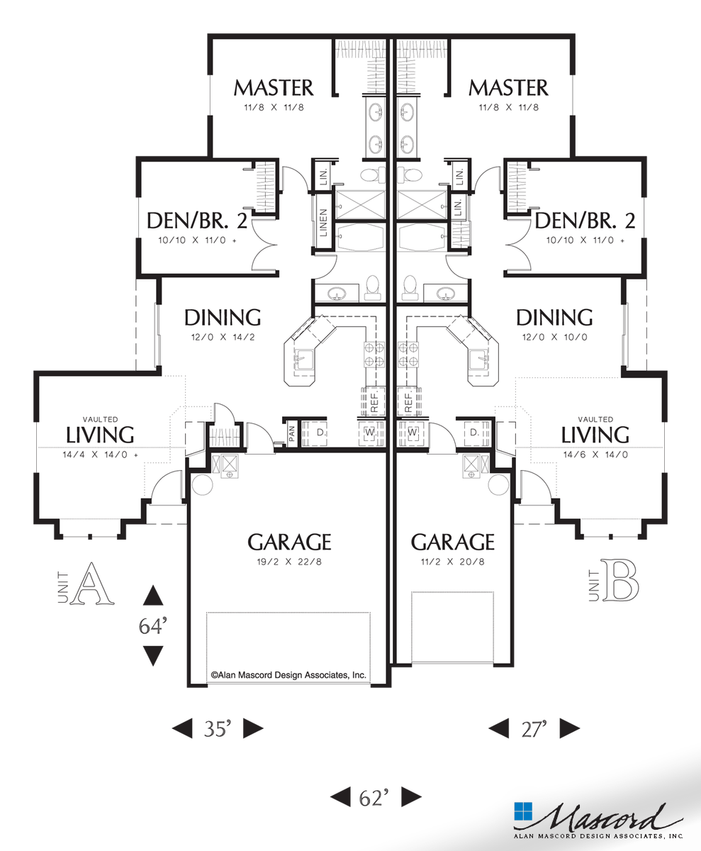 Main Floor Plan Of Mascord Plan 4031 The Whitespire Duplex With Slightly Smaller Second Unit Duplex Plans Multigenerational House Plans Duplex Floor Plans