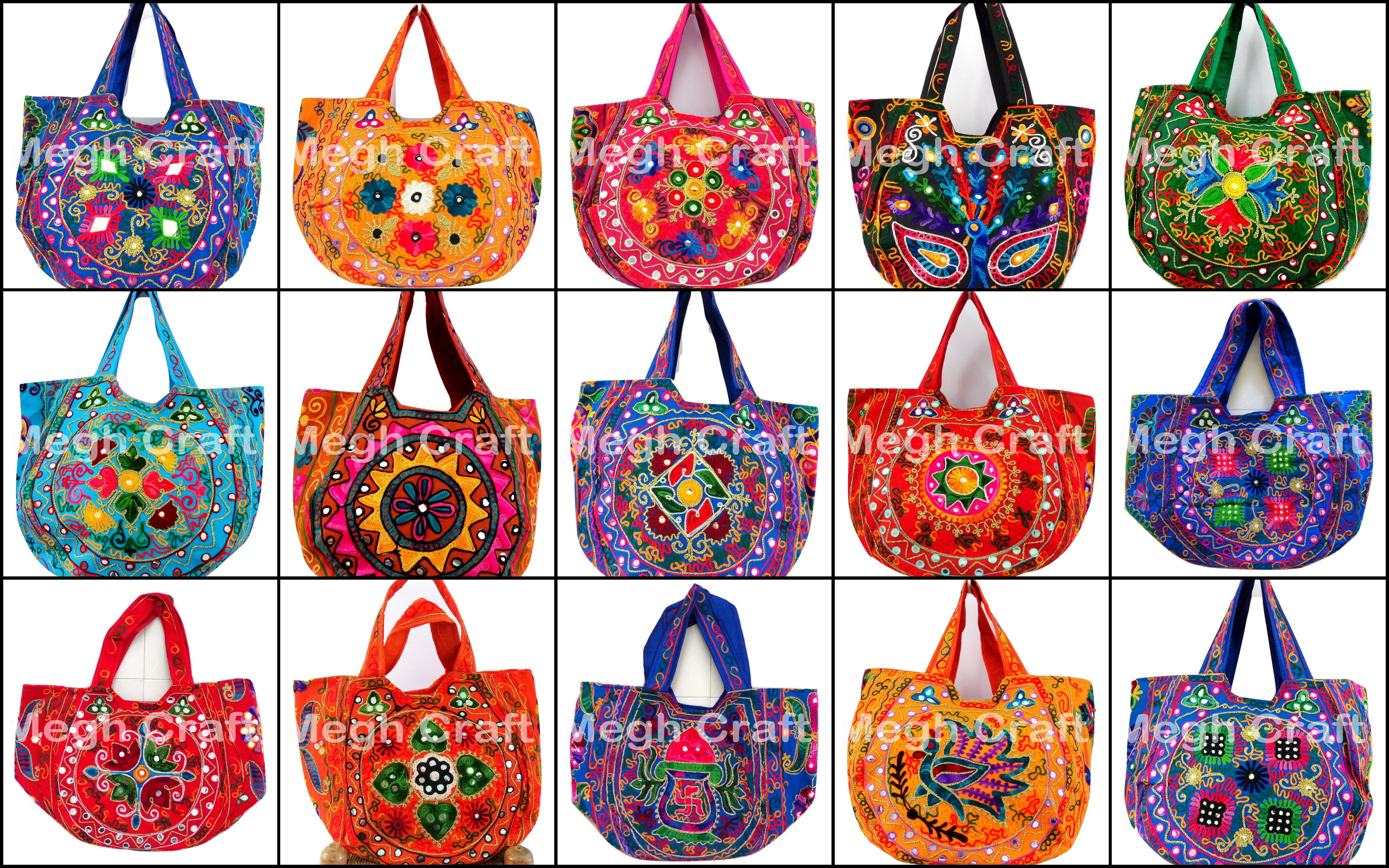 af9d2e5ff1 embroidered lace thread patch aari work handbags - mirror glass ...