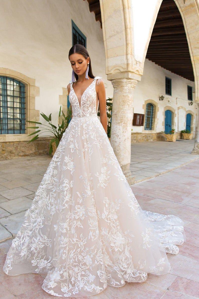 French Lace Love Wedding Dress Bohemian Wedding Dress Lace   Etsy