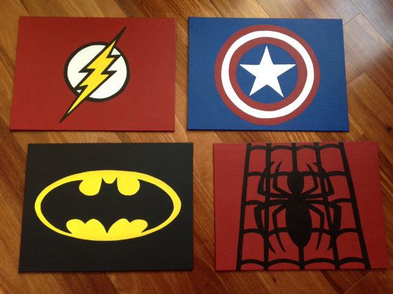 Superhero Canvas Custom And Handmade Super Hero Wall Art Handpainted By KraftyLife