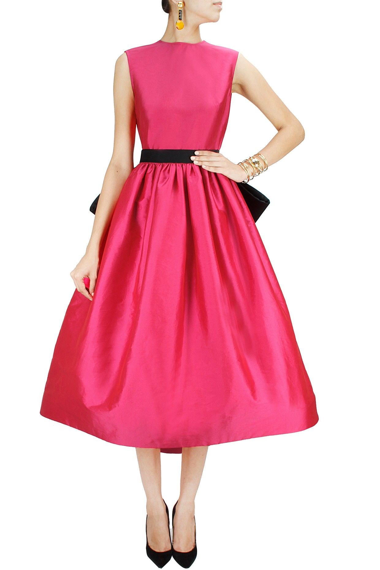 f0acea3365c06 Fuchsia pink asymmetrical flared dress with black bow belt available only  at…