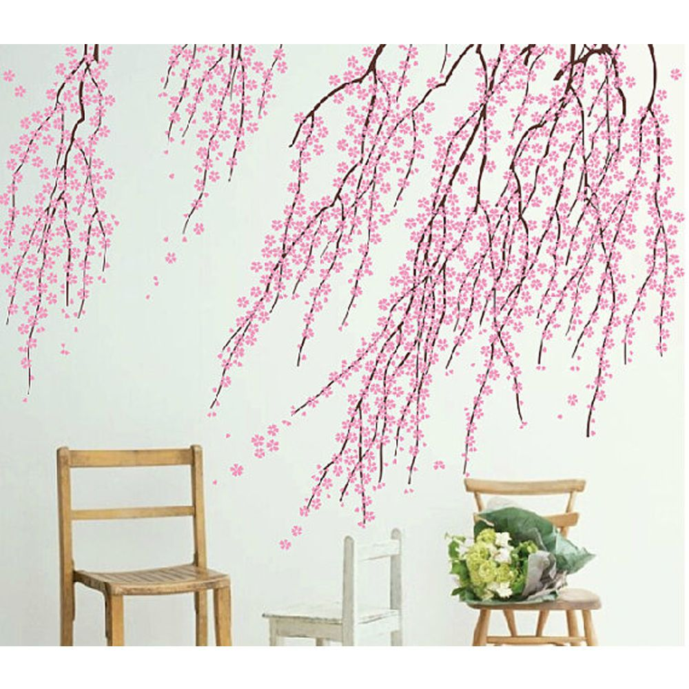 Cherry Blossom Wall Decals Pink Flower Wall Sticker Blossom Tree Branch Mural Flower Wall Decals Flower Wall Stickers Wall Decals Living Room