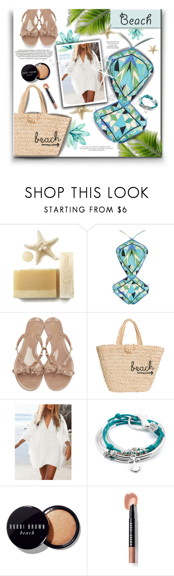 """""""Beach Day🌴"""" by chicpeacelove ❤ liked on Polyvore featuring Emilio Pucci, Valentino, Hat Attack, Lizzy James and Bobbi Brown Cosmetics"""