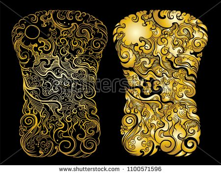126169f61dd7a Find gold color Line Thai tattoo design.traditional thailand style,cloud  and fire tattoo.Line Thai water wave design for tattoo.Japanese wave for  tattoo ...