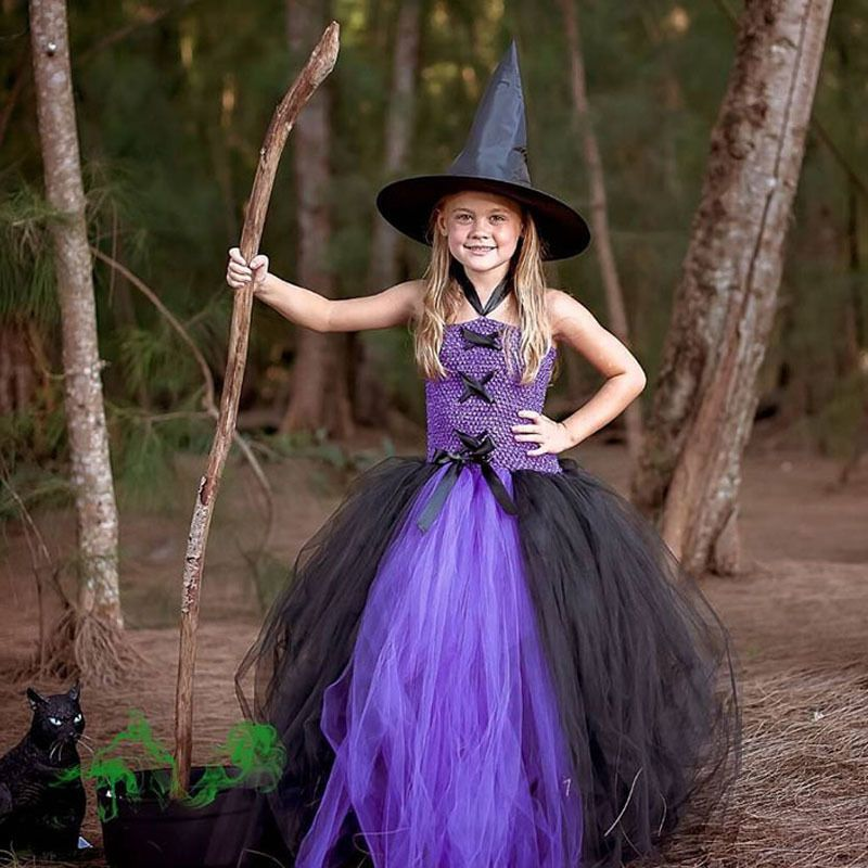 Purple Black Girls Party Dresses Little Witch Costume Baby Kids Tutu ...