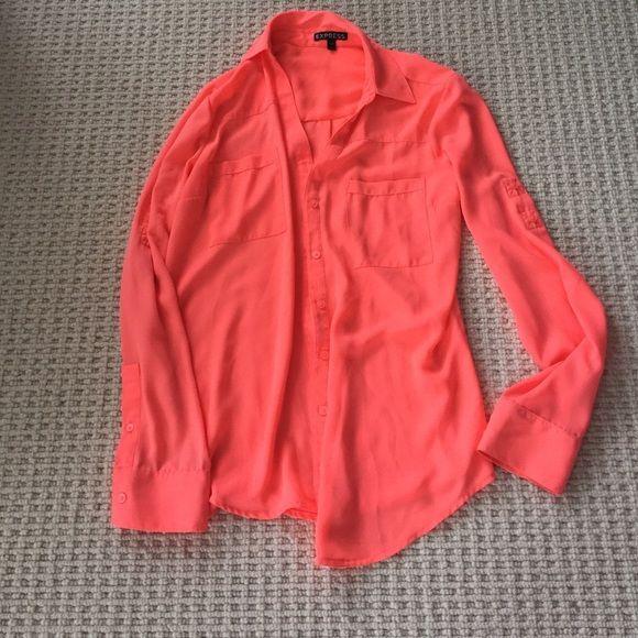 88bf52980181 Express Portofino shirt in neon orange like new Express Portofino neon  orange shirt like new Express Tops Button Down Shirts