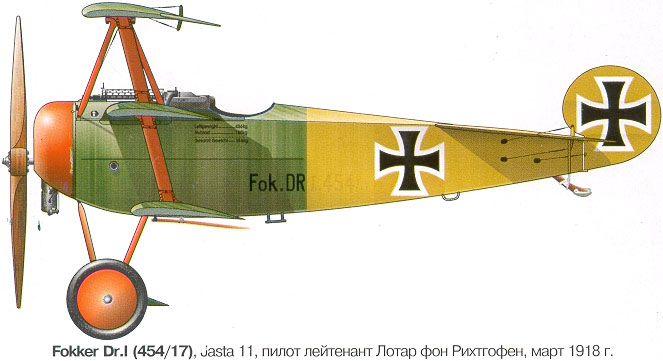 Fokker Dr.I Unit: Jasta 11 Serial: Dr.454/17 Pilot - CO of Jasta 11, Lt.Lothar von Richthofen. France, March-April 1918. Flown this aircraft in March 1918 he shot down 3 enemy plane.