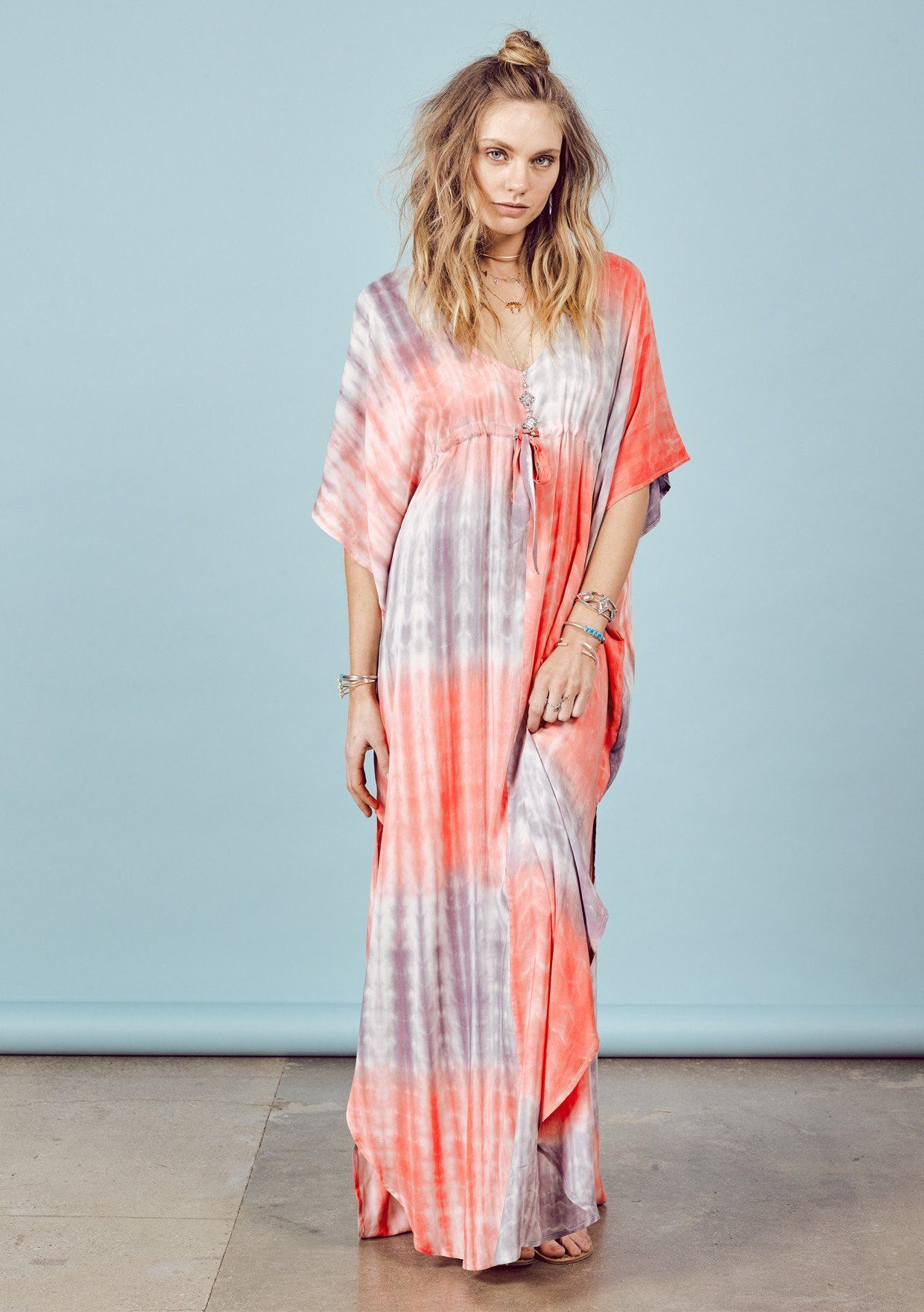 aa793f7b29 The Raya Coral Boho Caftan Dress