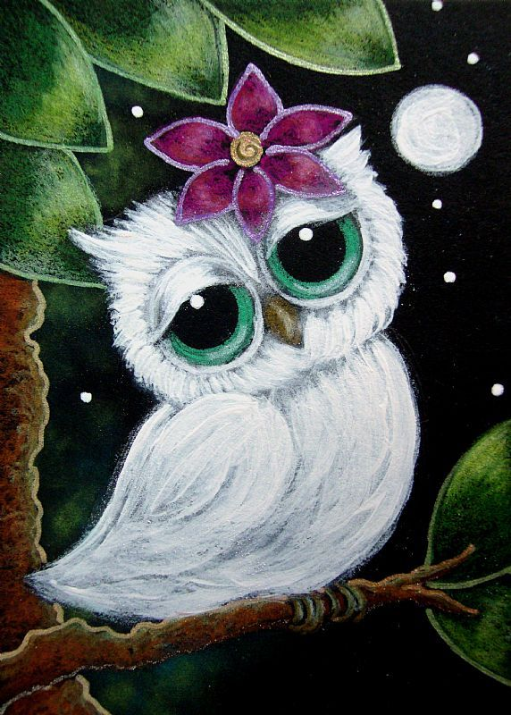 <3 this girly little owl with her flower...reminds me of you with a flower in your hair. hehe @Shannon Bellanca Hunsecker Vogt