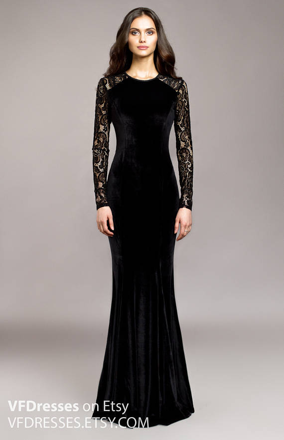 Black velvet evening dress, wedding guest