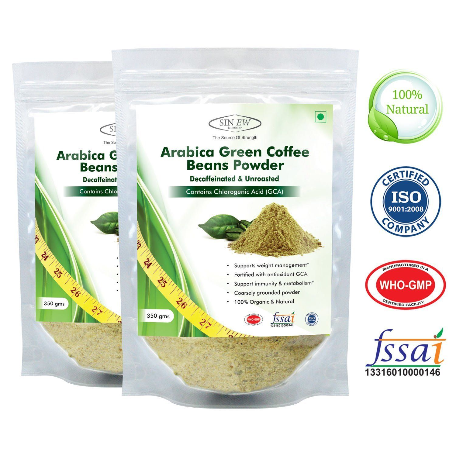 Buy Sinew Nutrition Arabica Green Coffee Beans Powder 350gm Pack