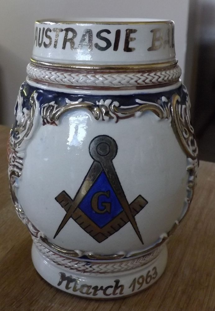 Vintage German Marzi & Remy MASONIC 5  Stein - Marked Made In Germany 1963