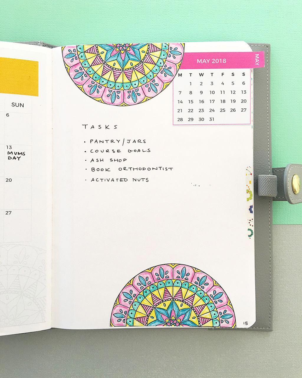 My bullet journal monthly log with mandala stickers i print the mandala images and calendars and make my own stickers click through to learn how i