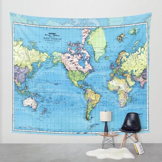 World Map Tapestry Wall Hanging world map tapestry wall hanging - vintage mercator map, blue