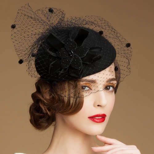 f217f4580 Women Black Wool Netting Winter Fashion Dress Veil Beret Hat Berets ...