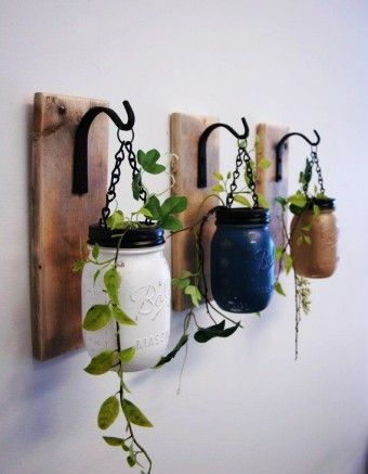 Rustic Hanging DIY Mason Jar Herb Garden - Wood, Chain, Hook, Green Plants, Climbing Plants - Herb storage jars - how to make your day 100 times better by isjonass