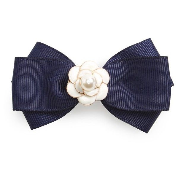 Tasha 'Pearl Rosette' Bow Barrette ($20) ❤ liked on Polyvore featuring accessories, hair accessories, navy, flower hair accessories, flower hair clip, beaded hair clips, tasha hair accessories and rose hair clip