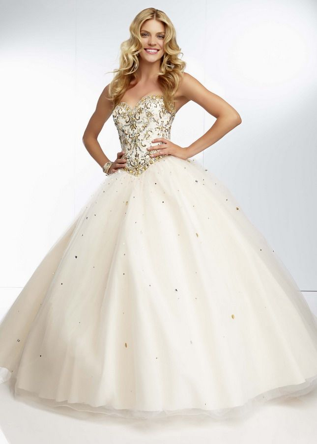 gold jewel beaded top strapless white corset back ball gown