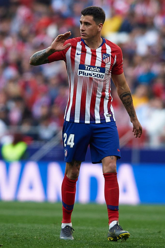 Jose Maria Gimenez of Atletico de Madrid reacts during the