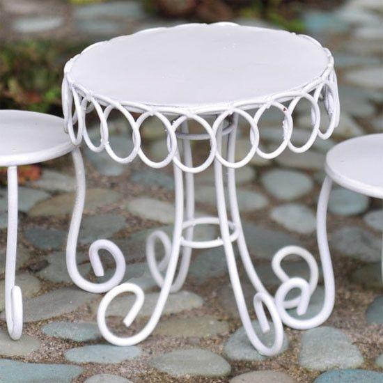 Pleasant Miniature White Bistro Table Fairy Garden Garden Dailytribune Chair Design For Home Dailytribuneorg