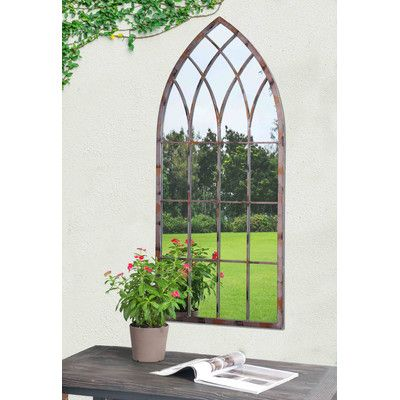 """$95- Overall: 45.28"""" H x 19.69"""" W x 0.79"""" D  - Sunjoy Cathedral Windowpane Style Garden Mirror"""