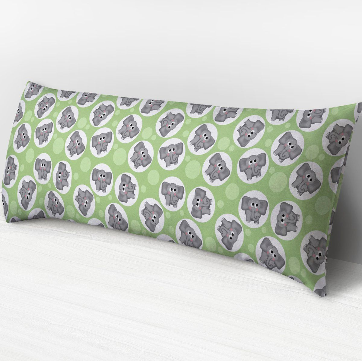 Adorable elephant pattern light green body pillow or cover body