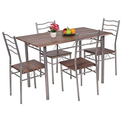 Tangkula 5 Piece Wood Metal Dining Set Kitchen Modern Furniture To View Further For This It Modern Kitchen Tables Cheap Kitchen Tables Small Kitchen Tables
