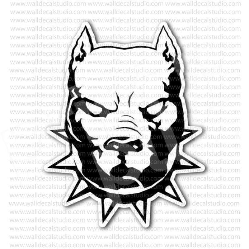 Pitbull Dog With Spiked Collar Head Sticker In 2019