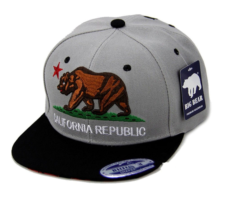 30c521a8dc8 California Republic Hat Classic Bear Logo Flat Bill Visor - Gray Black Brim  - CH120BA40M3 - Hats   Caps