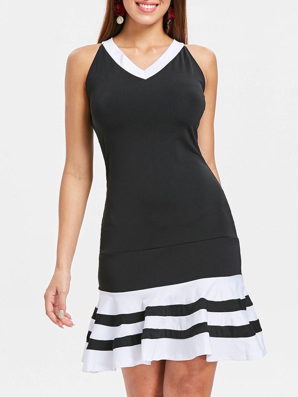 Ruffle hemline black v neck dress dresses pinterest dresses